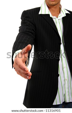 Sign Of Welcome Young business man reaching out his hand for a handshake. Isolated over white - stock photo