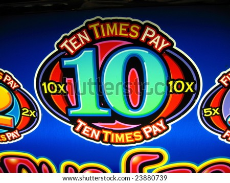 sign on a casino slot machine which is colorful and shows a big winner