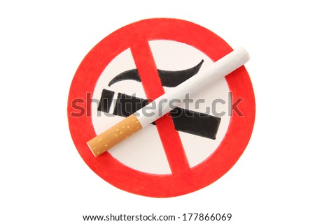Sign on butts of cigarette on a white background - stock photo