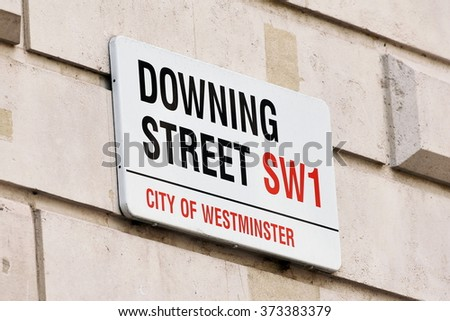 Sign on Downing Street in the City of Westminster in London England
