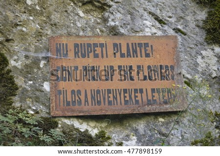 Sign on mountain: Do not break the plants