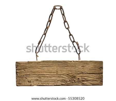 sign on the chain isolated on a white background - stock photo