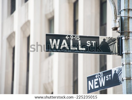 Sign on the Wall Street - stock photo