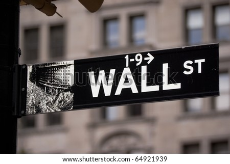 Sign on Wall street in New York City - stock photo