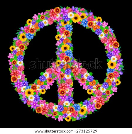 sign peace from flowers on black background. - stock photo