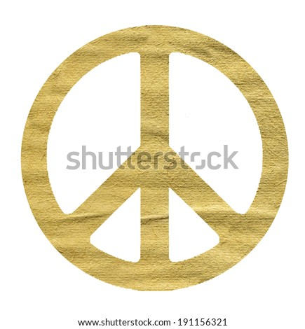 sign peace made from beige paper on a white background - stock photo