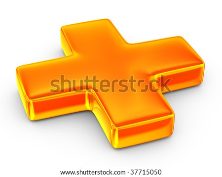 Sign plus on white background. isolated 3D image - stock photo