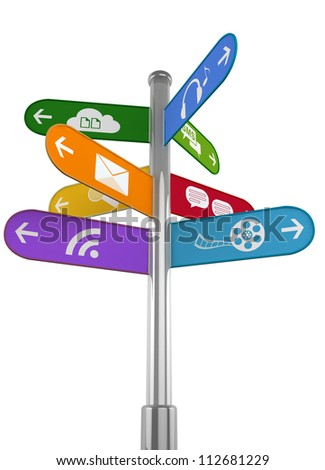 Sign pole with signs pointing to various social media and other internet related actions. Isolated on white. - stock photo