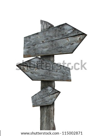 Sign-post isolated on white background - stock photo