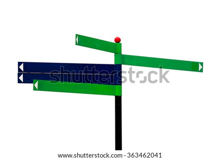 sign post on white background