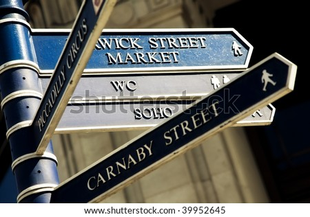Sign post to different famous London streets.