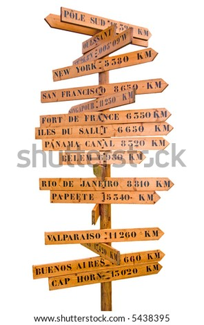 sign post with many world directions and distances isolated on white - stock photo