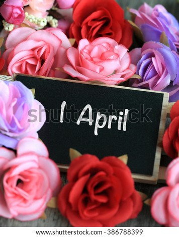 Sign showing 1 April, April fool's day - stock photo