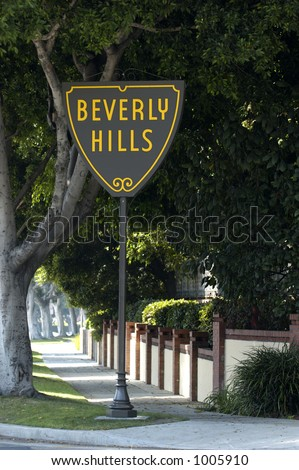Sign showing Beverly Hills border - stock photo
