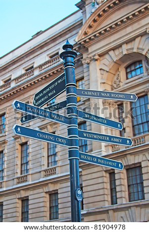 Sign showing directions to the London's landmarks - stock photo