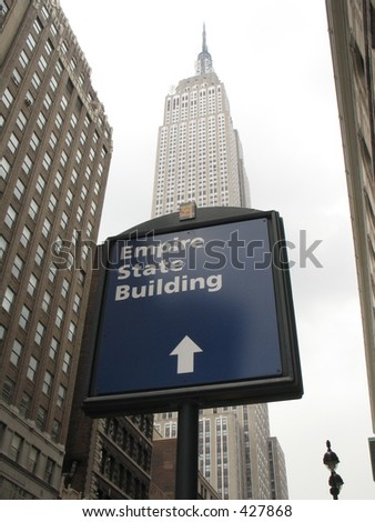 Sign showing location of Empire State building