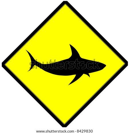 sign shows danger of shark - stock photo