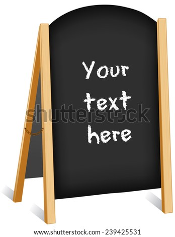Sign, sidewalk chalk board, light wood frame folding easel with brass chain, slate background, copy space. Isolated on white.  - stock photo