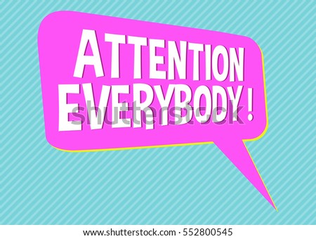 Sign social media shout out attention everybody pink blue isolated