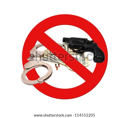 sign stop gun on a white background - stock photo