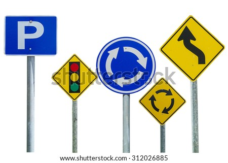 sign traffic isolated on white background - stock photo