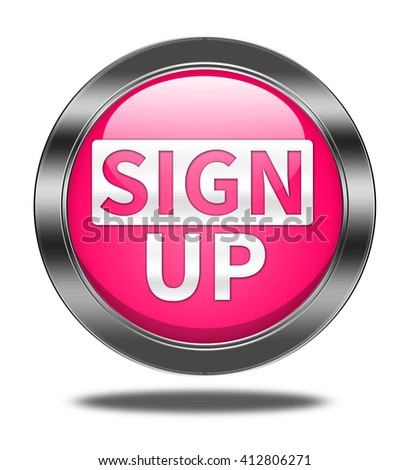 sign up button isolated