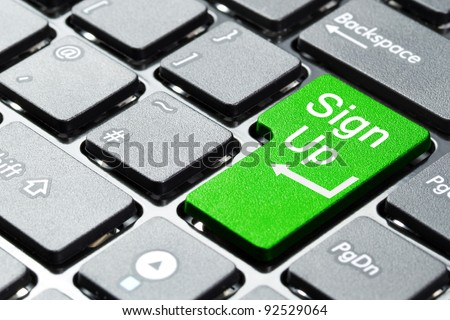 Sign up button on computer keyboard - stock photo