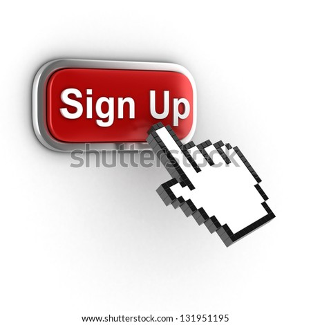 sign up 3d button - stock photo