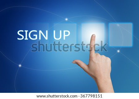 Sign up - hand pressing button on interface with blue background. - stock photo