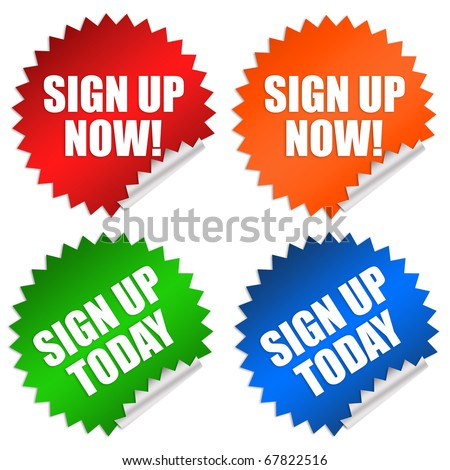 Sign up now stickers - stock photo