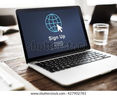 Sign Up Register Join Applicant Enroll Enter Membership Concept - stock photo