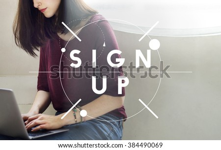 Sign Up Registration Membership Joining Concept - stock photo
