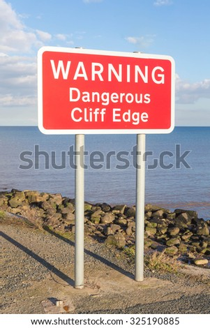 Sign warning of dangerous cliffs