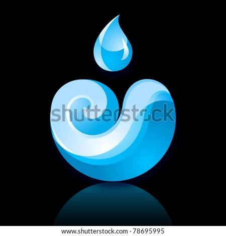 Sign Wave with a Drop blue with reflection on black background. . Bitmap copy my vector ID 77784754 - stock photo