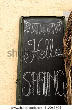 Sign welcoming Spring
