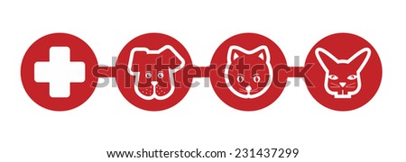 sign with cat and dog for a veterinarian - stock photo