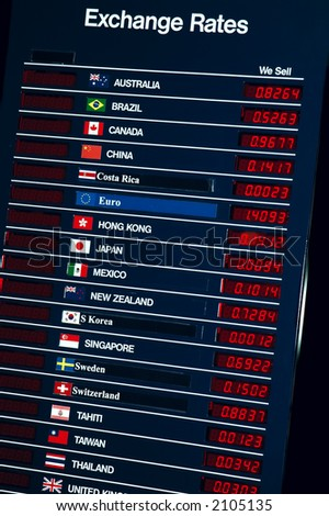 Sign with details about foreign currency exchange rates - stock photo