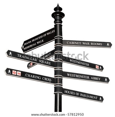 Sign with directions to London's landmarks isolated on white - stock photo