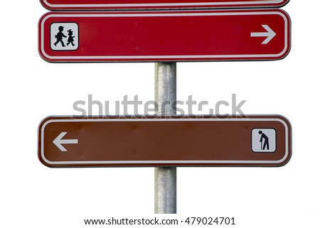 sign with elderly people and children pointing opposite ways isolated on white