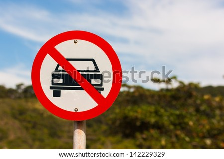 Sign with forbidden advertising - stock photo