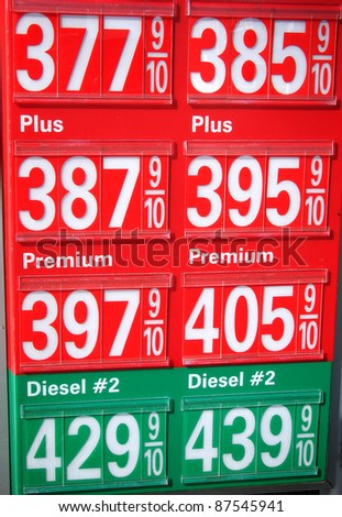 sign with gasoline and diesel prices - stock photo