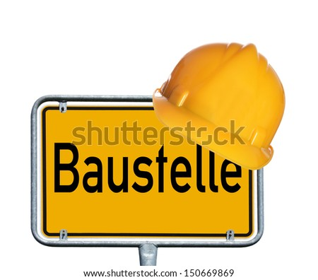 Sign with Hard Hat and the german word Construction / construction - stock photo
