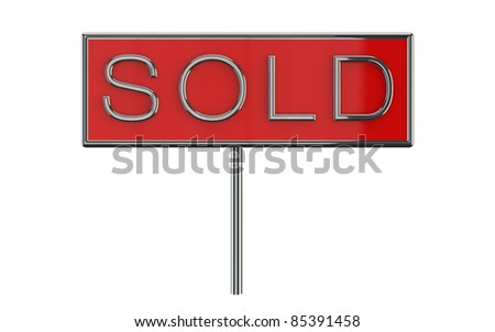Sign with sold written on red surface