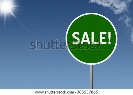 Sign with text Sale on sky background