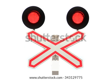 sign with the railway crossing. - stock photo