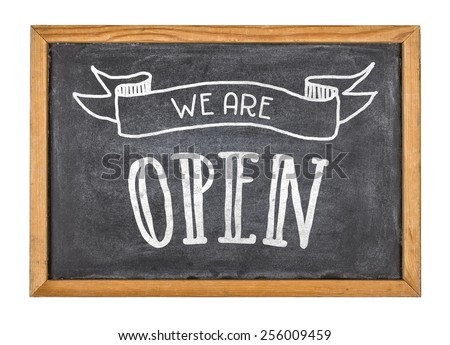 Sign with the text We are open - stock photo