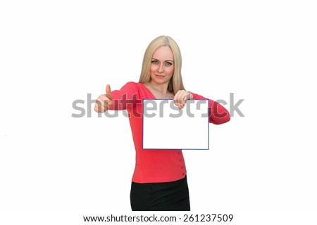 Sign woman showing blank poster billboard. Portrait of beautiful charming woman with smile holding up a blank white sign for your attention isolated on white background - stock photo