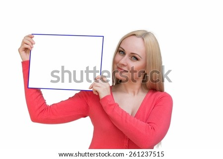 Sign woman showing blank poster billboard with both hands. Portrait of beautiful charming woman with smile holding up a blank white sign for your attention isolated on white background - stock photo