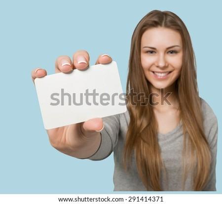 Sign, Women, Holding. - stock photo
