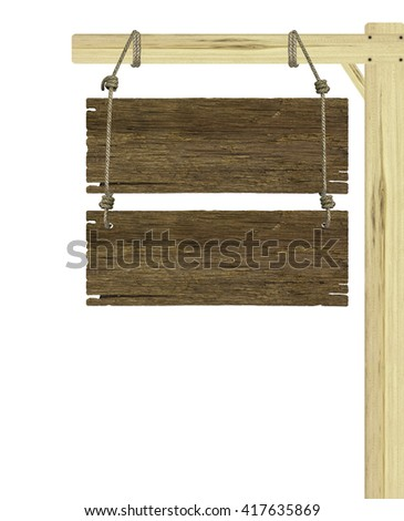sign wood isolated on white background .